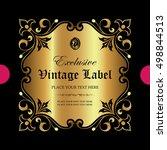 luxury ornamental label | Shutterstock .eps vector #498844513