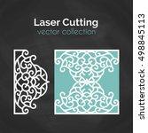 laser cut card. template for... | Shutterstock .eps vector #498845113