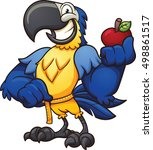 blue macaw holding an apple and ... | Shutterstock .eps vector #498861517