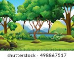 forest scene with river and... | Shutterstock .eps vector #498867517