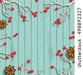christmas background in rustic... | Shutterstock .eps vector #498892327