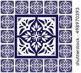 blue white tiles floor   lace... | Shutterstock .eps vector #498970393