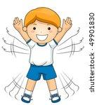 Boy Doing Jumping Jacks   Vector