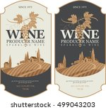 wine labels set with a... | Shutterstock .eps vector #499043203