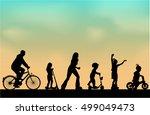 people outdoors  vector... | Shutterstock . vector #499049473