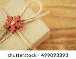 vintage christmas gift box on... | Shutterstock . vector #499093393