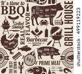 typographic vector barbecue... | Shutterstock .eps vector #499119223