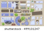 icons set of interior  top view ... | Shutterstock .eps vector #499131247