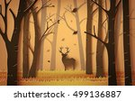 deer in the autumnal forest... | Shutterstock .eps vector #499136887