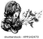 beautiful young witch from... | Shutterstock .eps vector #499142473