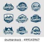 mountain logo lettering vector... | Shutterstock .eps vector #499143967