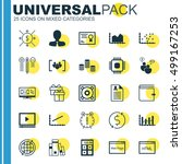 set of 25 universal editable... | Shutterstock .eps vector #499167253