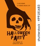 halloween party with zombie... | Shutterstock .eps vector #499181683