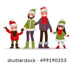 happy family dressed in winter... | Shutterstock .eps vector #499190353