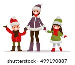 mom with kids dressed in winter ... | Shutterstock .eps vector #499190887