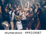 party fun. group of beautiful... | Shutterstock . vector #499219087