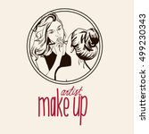 woman visagist makeup artist...   Shutterstock .eps vector #499230343