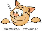 cute brown cat peeking out  ... | Shutterstock .eps vector #499233457