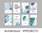 Stock vector set of creative universal floral cards in tropical style hand drawn textures wedding anniversary 499238173