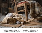 basket with balls of yarn in an ... | Shutterstock . vector #499253107