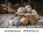 Basket With Balls Of Yarn In A...