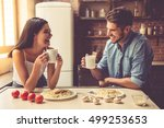 beautiful young couple is... | Shutterstock . vector #499253653