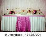 buffet with sweets covered with ... | Shutterstock . vector #499257007
