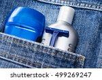 mens cosmetics. antiperspirant... | Shutterstock . vector #499269247