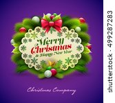 christmas and new year greeting ... | Shutterstock .eps vector #499287283