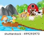 children rowing boat in the... | Shutterstock .eps vector #499293973