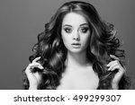 beauty woman portrait. healthy... | Shutterstock . vector #499299307