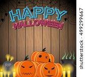 happy halloween neon style on... | Shutterstock .eps vector #499299667