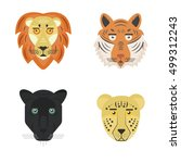 set of big wild cats. tiger ... | Shutterstock .eps vector #499312243