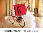 bicycle delivery red box bike | Shutterstock . vector #499313917