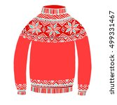 christmas red sweater vector... | Shutterstock .eps vector #499331467