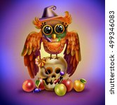 halloween owl on the skull | Shutterstock . vector #499346083