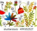 watercolor leaves and flowers... | Shutterstock . vector #499352527