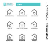 flat symbols about homes. thin... | Shutterstock .eps vector #499388677