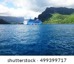 cruise ship in cook's bay ... | Shutterstock . vector #499399717