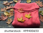 warm knitted sweater and autumn ... | Shutterstock . vector #499400653