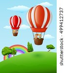 two air balloons flying with... | Shutterstock . vector #499412737