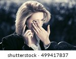 sad business woman calling on... | Shutterstock . vector #499417837
