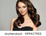 beautiful model girl with long... | Shutterstock . vector #499417903