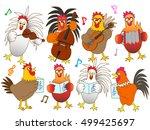 the concert of the chicken. | Shutterstock .eps vector #499425697