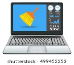 laptop with cleaning application | Shutterstock .eps vector #499452253