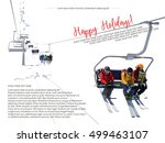 vector illustration of skiers... | Shutterstock .eps vector #499463107