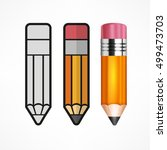 different style drawing pencil. ...   Shutterstock .eps vector #499473703