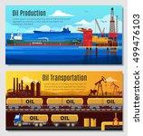 oil industry horizontal banners ... | Shutterstock .eps vector #499476103