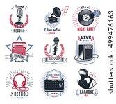 karaoke vintage logos set with... | Shutterstock .eps vector #499476163