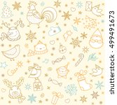 christmas winter doodles icons... | Shutterstock .eps vector #499491673